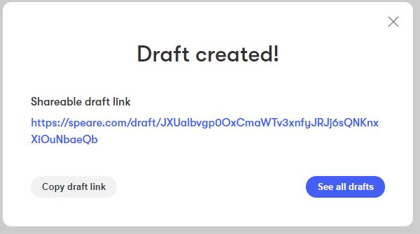 Create Drafts – A Speare Bite